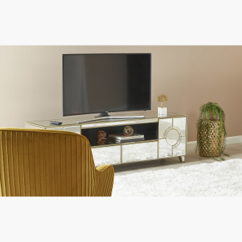 Mystique Mirrored 2-Drawer TV Unit with 2-Doors