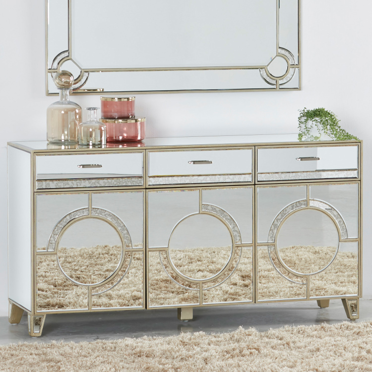 Mystique Mirrored 3-Drawer Buffet Cabinet with 3-Doors