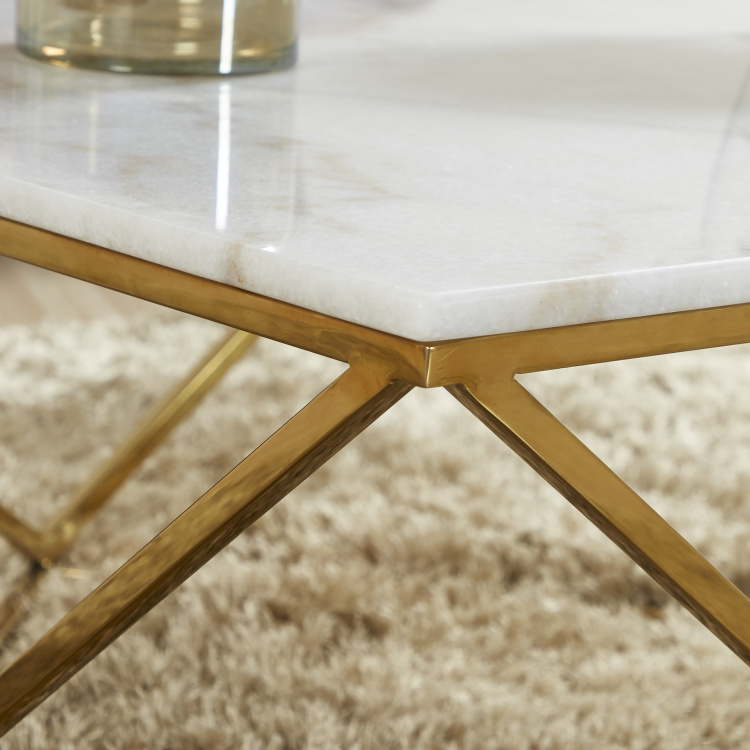 Lunar Rectangular Coffee Table with Marble Top