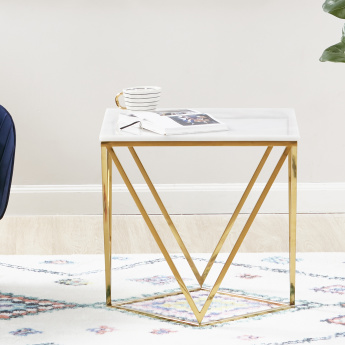 Lunar End Table with Marble Top