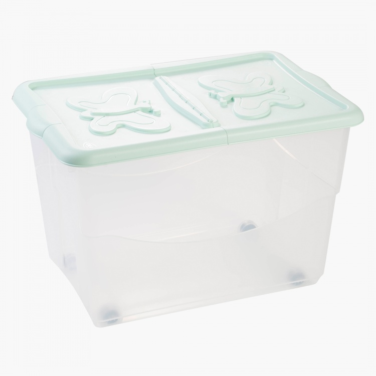 Butterfly Storage Box with Lid and Wheels - 60x40x39 cms