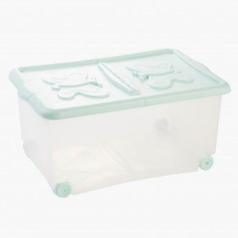 Butterfly Storage Box with Lid and Wheels - 60x40x18 cms