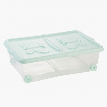 Butterfly Storage Box with Lid and Wheels - 60x40x28 cms