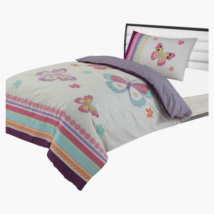 Butterfly Reversible 2-Piece Full Comforter Set - 160x240 cms