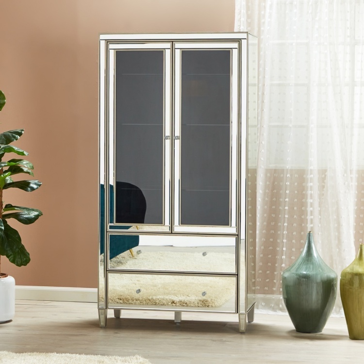 Domino 2-Door Bar Curio Cabinet with 2-Drawers