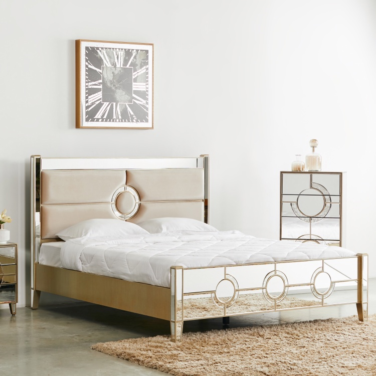 Mystique Mirrored King Size Bed with Headboard - 180x210 cm