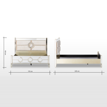 Mystique Mirrored King Bed with Headboard - 180x210 cms