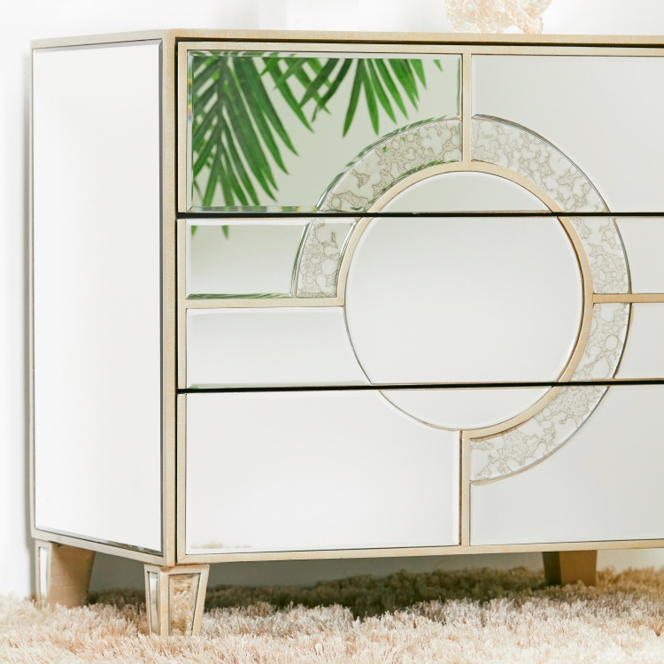 Mystique Mirrored 3-Drawer Nightstand