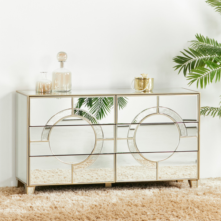 Mystique Mirrored 6-Drawer Dresser