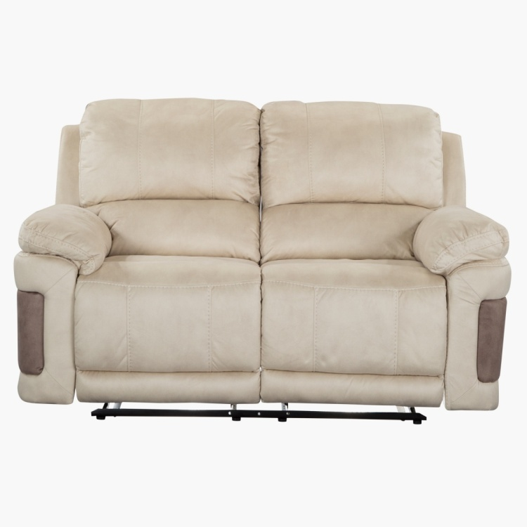 Dawson Tufted 2 Seater Recliner Sofa Beige And Teak Fabric