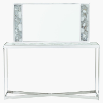 Agate Console Table and Mirror with Marble Top
