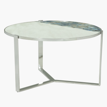 Agate Round Coffee Table with Marble Top