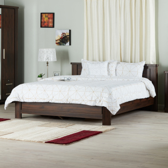Optec Queen Size Wooden Bed - 173x215 cms
