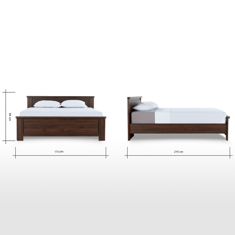Optec Queen Size Wooden Bed - 155x205 cm