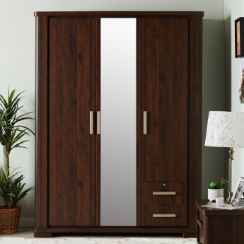 Optec 3-Door Wardrobe with Mirror and 2-Drawers