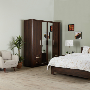 Optec 4-Door Wardrobe with Mirror and 4-Drawers