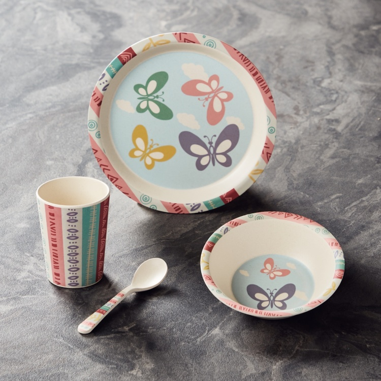 Butterfly Printed 4-Piece Feeding Set