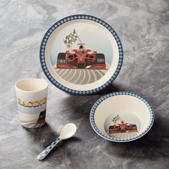 Cars Printed 4-Piece Feeding Set