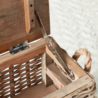 Rectangular Storage Trunk with Weave Pattern