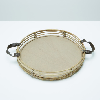Decorative Round Tray with Handles