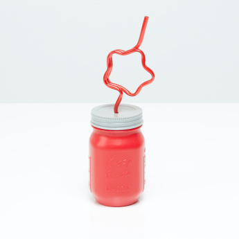 Mason Jar with Star Straw Sipper