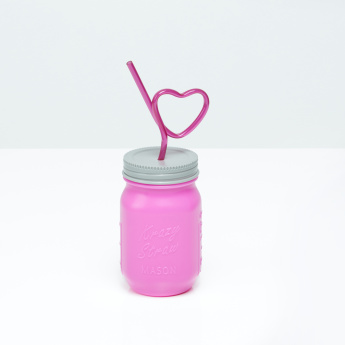 Mason Jar Sipper with Heart Shaped Straw - 473 ml
