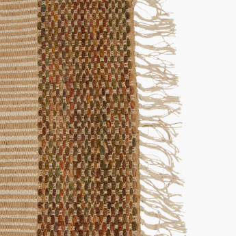 Colorband Textured Dhurrie with Fringes - 60x90 cms