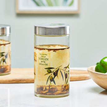 Olio Printed Round Storage Jar with Lid