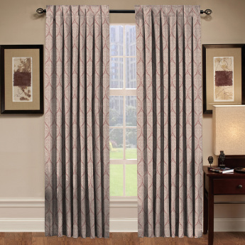 Strea Damask Unlined Curtain Pair - 135x240 cms
