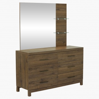 Sleek Rectangular Mirror with 2 Shelves