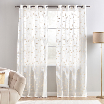 Hollyrock Embroidered Sheer Curtain Pair - 135x240 cms