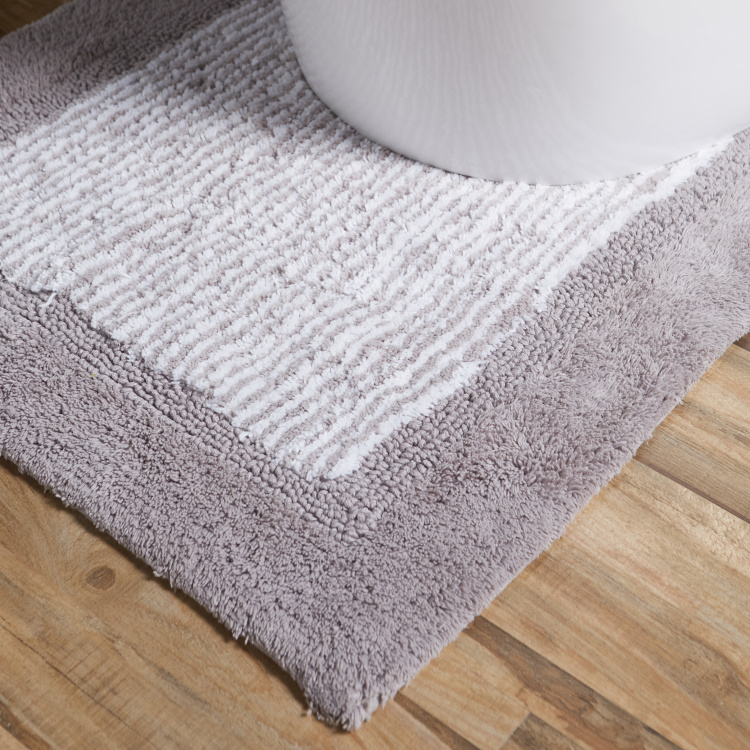 Geo Striped Bathmat and Contour Mat Set