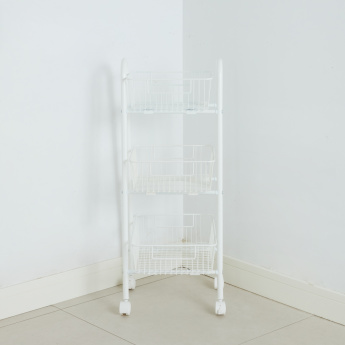 Mesh 3-Tiered Kitchen Trolley