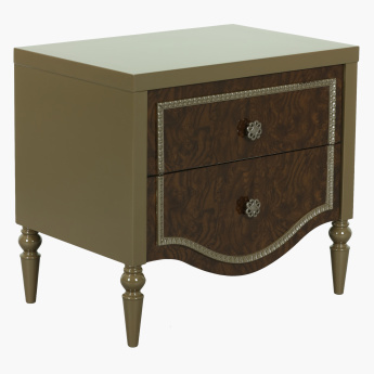 Modena High Gloss Nightstand with Drawers