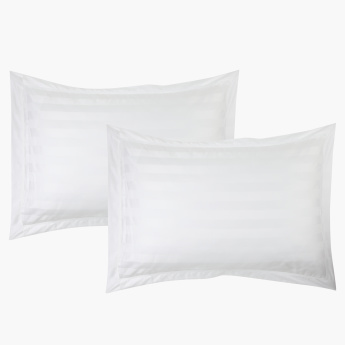 Satin Striped 2-Piece Pillow Cover Set - 50x75 cms