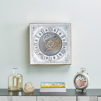 Zane Round Table Clock with Gear Cogs and Roman Numerals