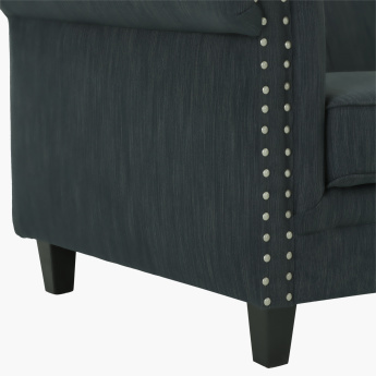 Zia Studded 3-Seater Sofa with Scroll Arms