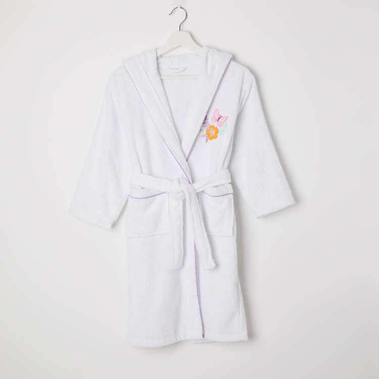Kelly's Embroidered Long Sleeves Bathrobe