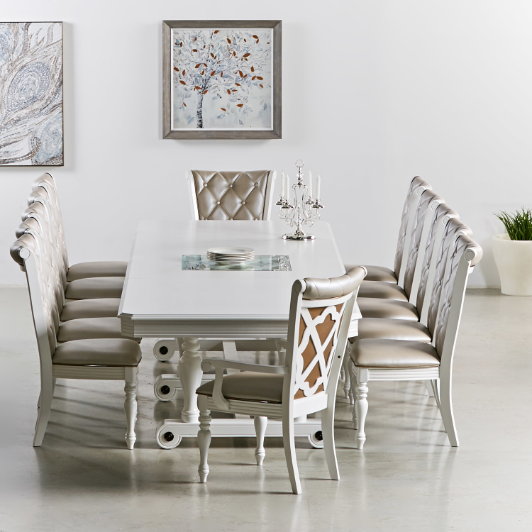 Angelina 12-Seater Wooden Top Dining Table with Chairs