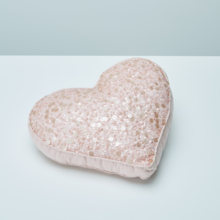 Adriana Heart Shape Filled Cushion with Sequins - 30x36 cms