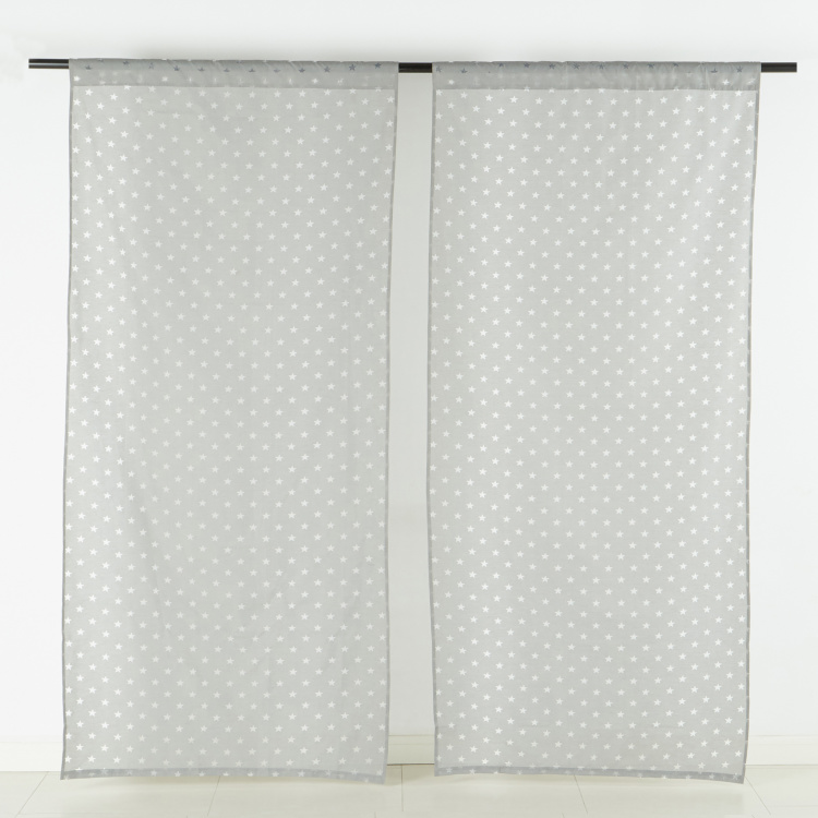 Shayne Laser Burn Stars Sheer Curtain Pair - 140x240 cms