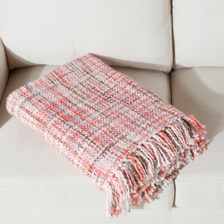 Chunky Textured Throw with Tassels - 150x200 cms