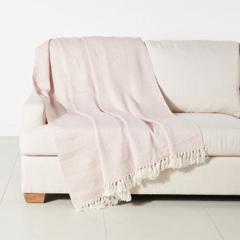 Diamond Textured Throw with Tassels - 150x200 cms