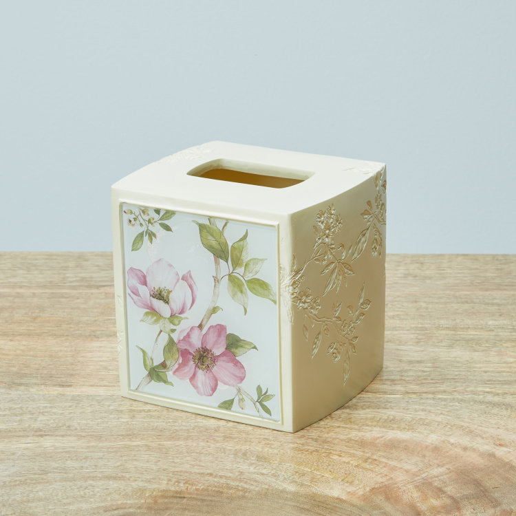 Oku Square Floral Printed Tissue Box Cover