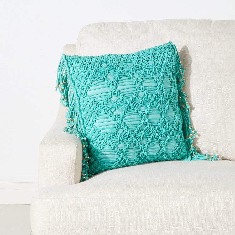 Beaded Mackerine Textured Filled Cushion with Zip Closure - 45x45 cms