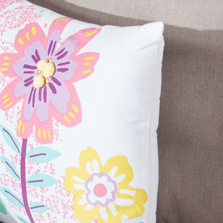 Trina Floral Printed Filled Cushion - 45x45 cms