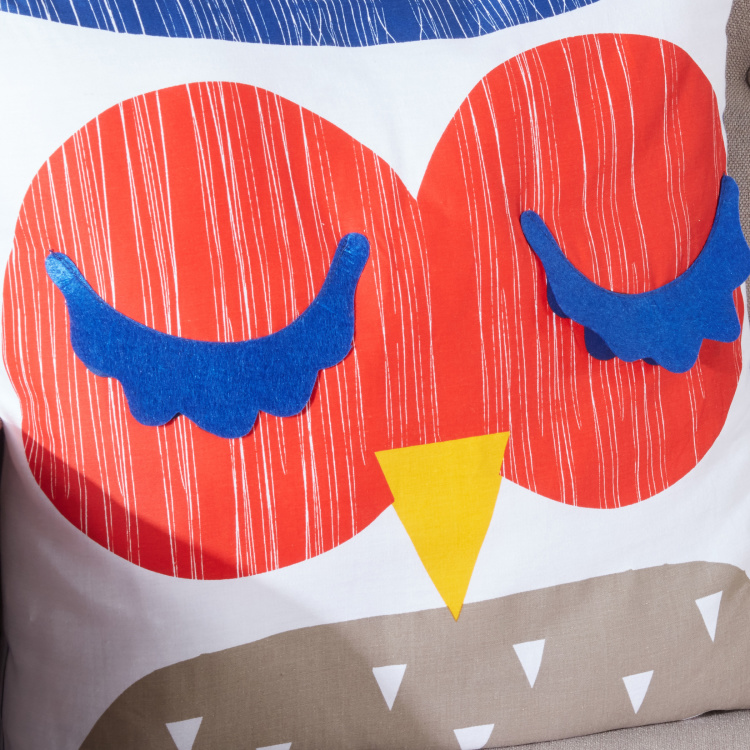 Wesley Owl Printed Filled Cushion - 45x45 cms