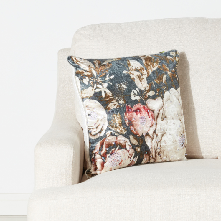 Blossom Luxe Sequin Detail Filled Cushion with Zip Closure - 45x45 cms