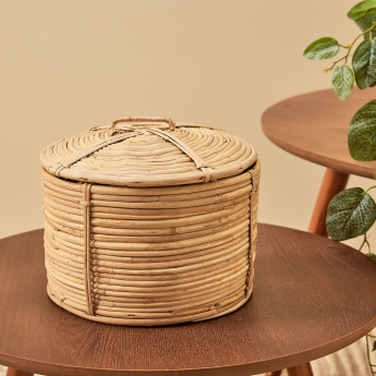 Majhud Cane Round Storage Container with Lid