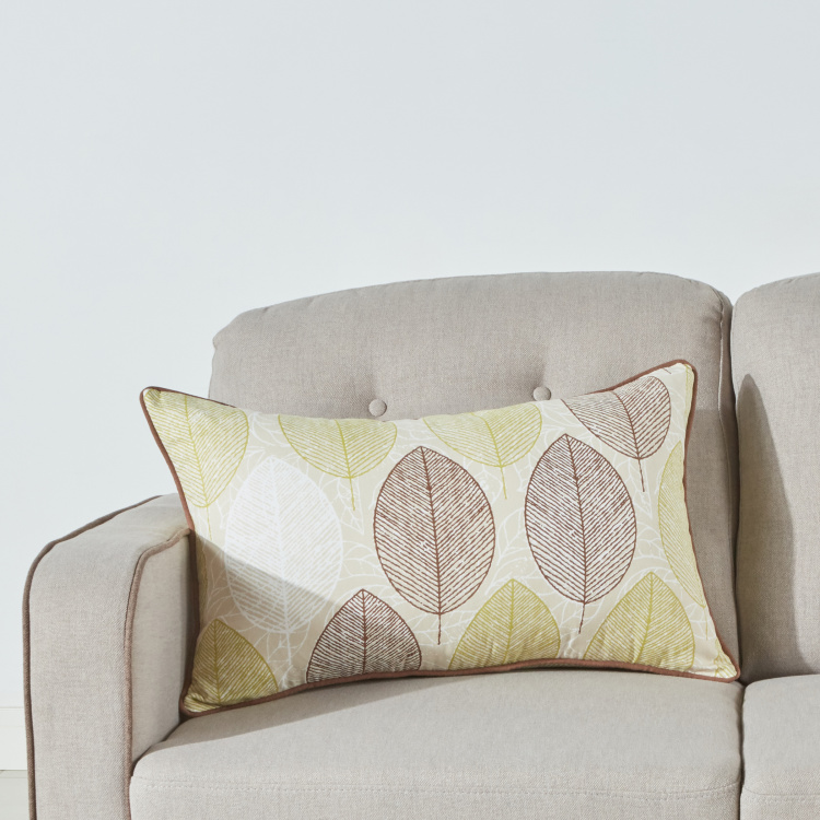 Leaves Printed Cushion Cover with Zip Closure - 40x65 cms